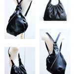 Black leather bag, large 3 way bag,..