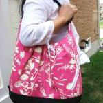Pink floral cotton bag convertible ..