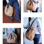 Large leather bag, pleated, convert..