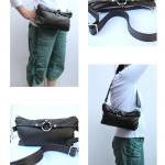 Fanny Pack Leather - Olive green ha..