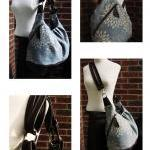 Extra large canvas tote with leathe..