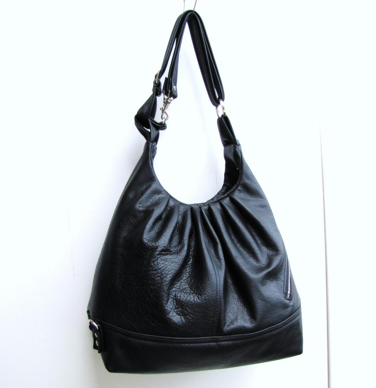 Black leather bag, large 3 way bag, convertible purse, women packpack - Black Diamond