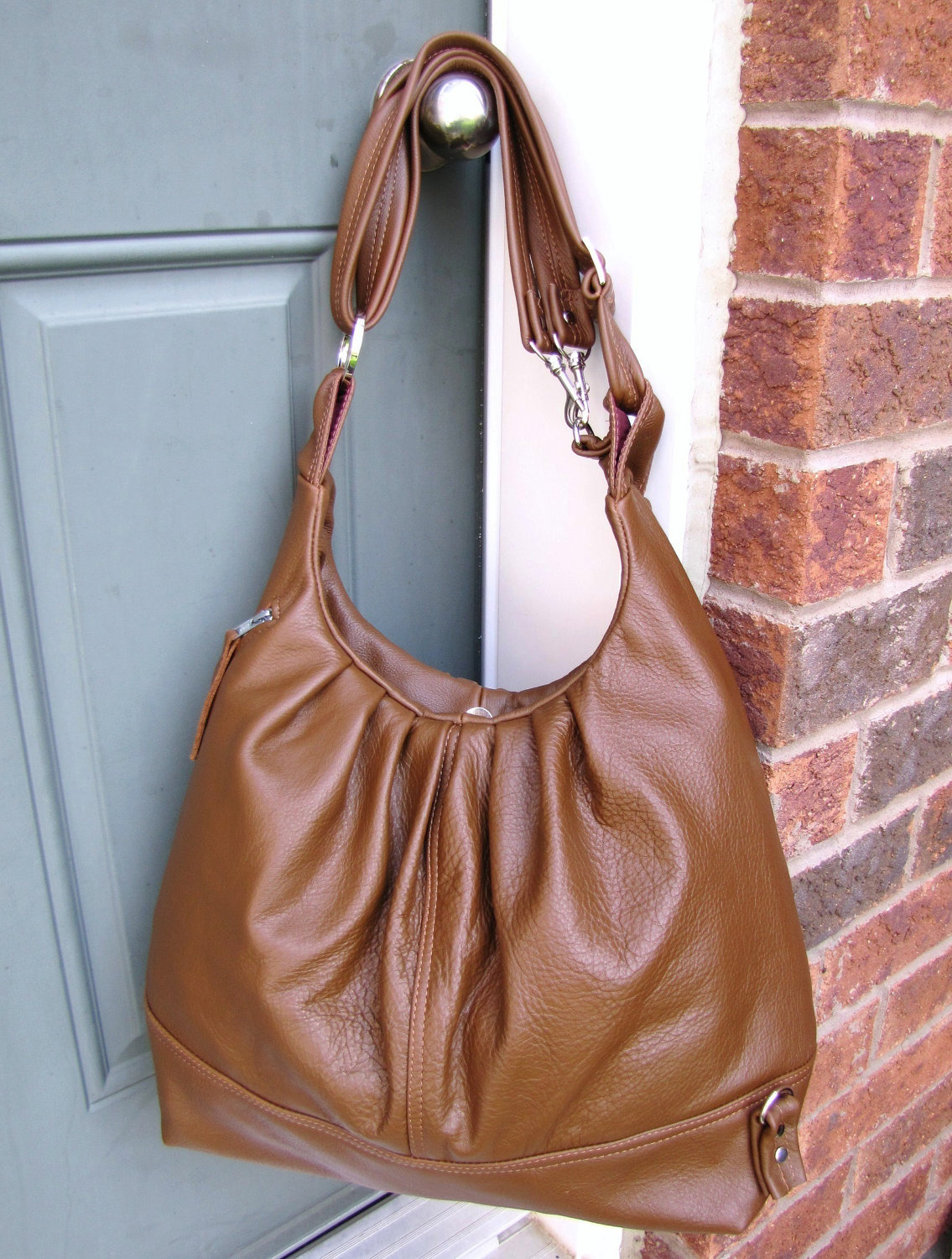 Large tan leather convertible backpack messenger tote bag - Oak Tan