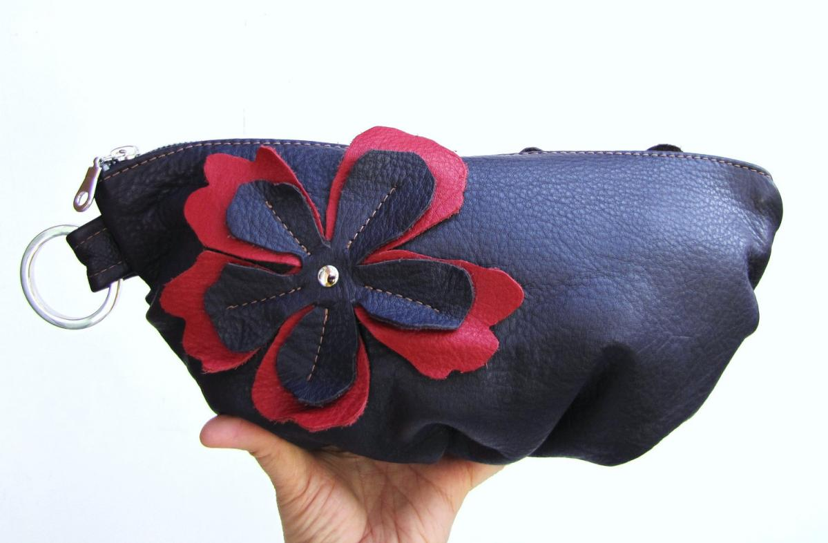Purple Leather clutch, red/purple flower applique on both sides