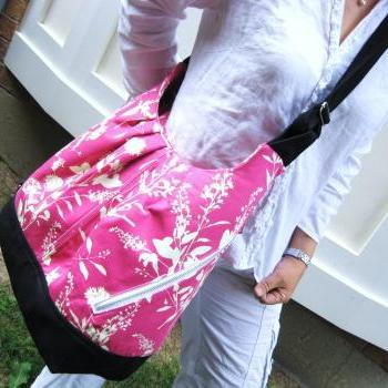 Pink floral cotton bag convertible backpack / messenger / tote - pink wildflower