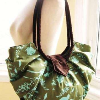 Large green floral cotton bag / hobo purse - Sage green wildflower