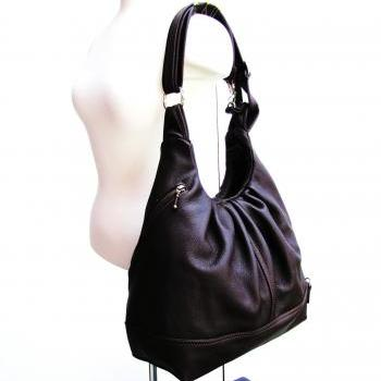 Large brown leather bag, convertible backpack, - Chocolate Brownie
