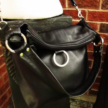 Black leather bag, fold over tote - Large 3 way convertible purse